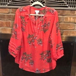Coral/Red floral tunic.